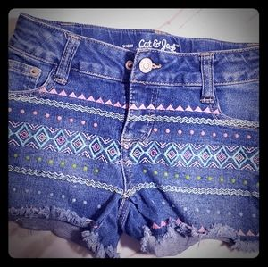 Cat & Jack Girls Shorts w/Embroidery& Rhinestones